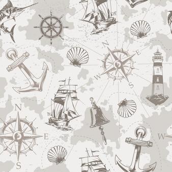 Vintage zee en mariene naadloze patroon