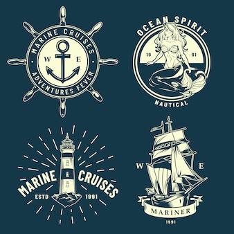 Vintage zee- en zee-emblemen instellen