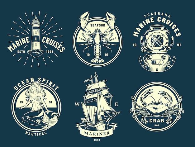 Vintage zee- en zee-etiketten