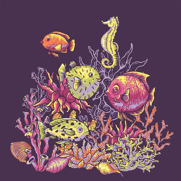 Vintage zee leven natuurlijke wenskaart, onderwater illustratie