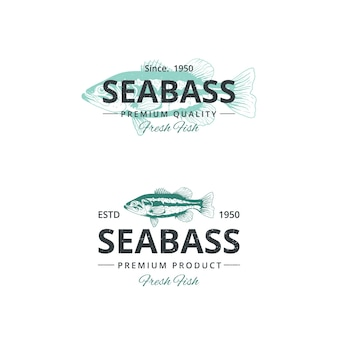 Vintage zeebaars vis logo sjabloon voor restaurant