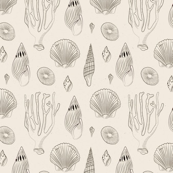 Vintage zeeschelp patroon thema