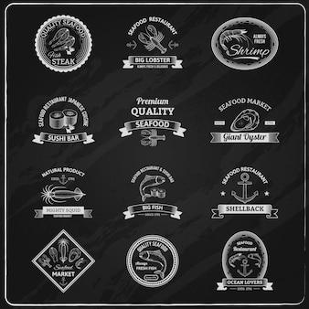 Vintage zeevruchten badges schoolbord