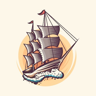 Vintage zeilen scheepsontwerp illustratie