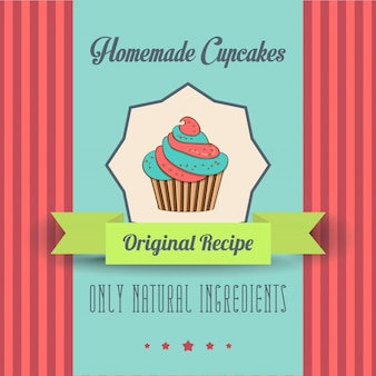 Vintage zelfgemaakte cupcakes poster
