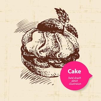 Vintage zoete taart achtergrond met kleur zeepbel. handgetekende illustratie