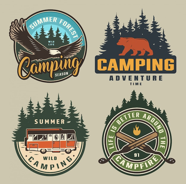 Vintage zomer camping badges