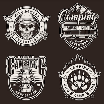 Vintage zomer camping labels