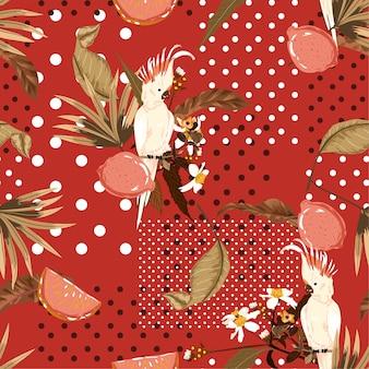 Vintage zomer exotische tropische en fruit met ara vogel op polka dots naadloze patroon