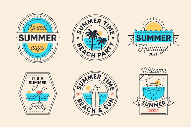 Vintage zomer labels-collectie