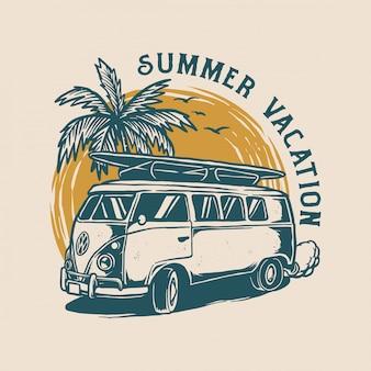Vintage zomer logo ontwerp