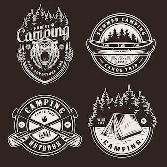 Vintage zomer openluchtrecreatie emblemen