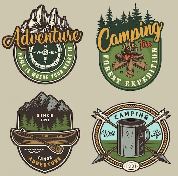 Vintage zomer openluchtrecreatie labels