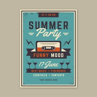 Vintage zomer partij poster concept