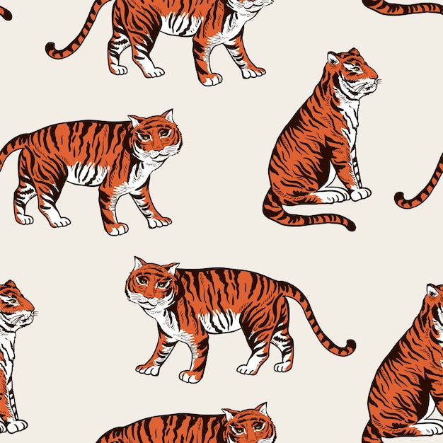 Vintage zomer tijger naadloze patroon
