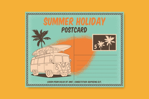 Vintage zomervakantie ansichtkaartsjabloon