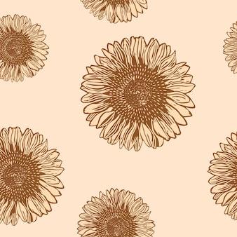 Vintage zonnebloem patroon achtergrond vectorillustratie, remix van kunstwerken van samuel jessurun de mesquita