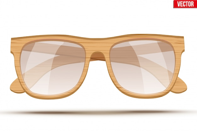 Vintage zonnebril met houten frame.