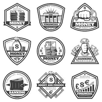 Vintage zwart-wit geldetiketten instellen met inscripties contant geld bankbiljetten portemonnee munten grafiek geïsoleerd