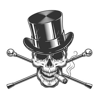 Vintage zwart-wit heren schedel roken sigaar