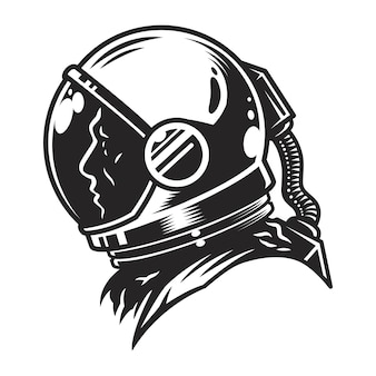 Vintage zwart-wit kosmonaut profiel weergavesjabloon