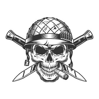 Vintage zwart-wit militair concept