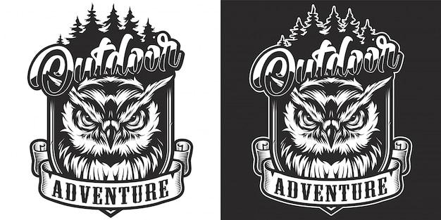 Vintage zwart-wit outdoor avontuur label