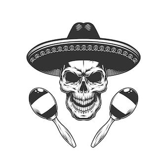 Vintage zwart-wit schedel in sombrero hoed