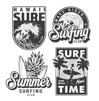 Vintage zwart-wit surfen prints set