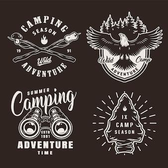 Vintage zwart-wit zomer camping badges
