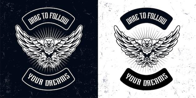 Vintage zwart witte adelaar vliegende mascotte logo illustratie