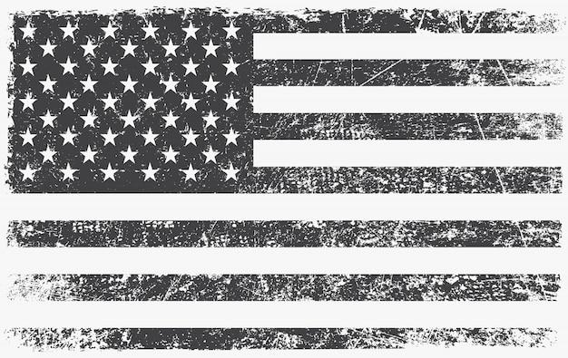Vintage zwart-witte amerikaanse vlag