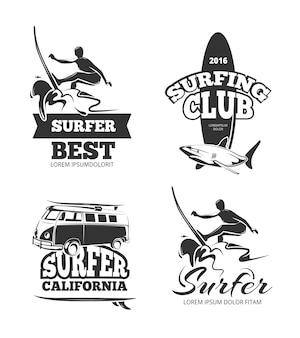 Vintage zwarte surf graphics