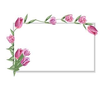 Vintageframe illustratie met tulp bloemen