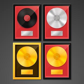 Vinyl in frame op muur, golden platinum hit collection-schijf, sjabloonontwerpelement, vectorillustratie