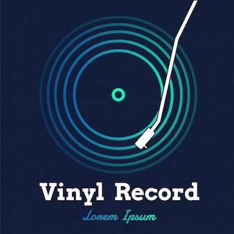 Vinyl muziekvector met donkere grafisch opnemen