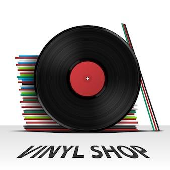 Vinyl platenzaak omslagalbum, vectorillustratie