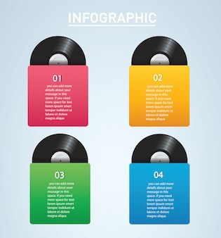 Vinyl record met cover mockup infographic