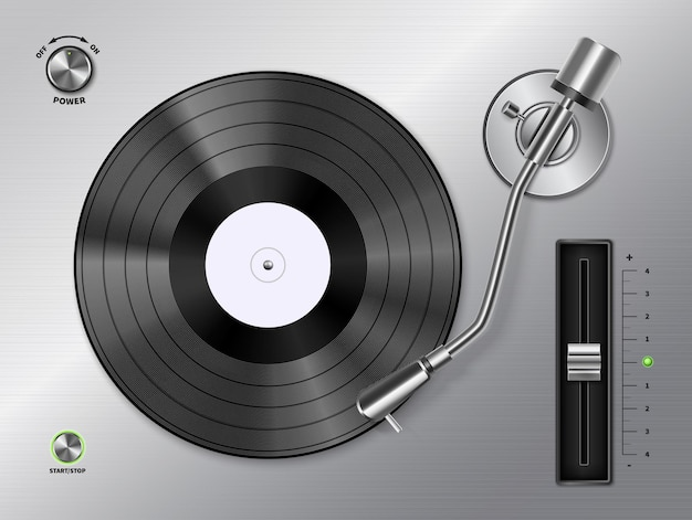 Vinyl record schijf spelen op draaitafel speler close-up bovenaanzicht realistisch zwart wit retro afbeelding