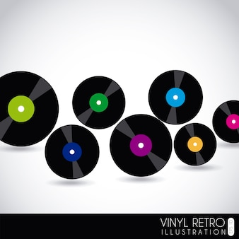 Vinyl retro over grijze achtergrond vectorillustratie