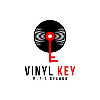 Vinylplaat en key music-logo-ontwerp