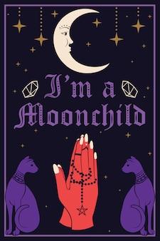 Violet cats en de maan. biddende handen met een rozenkrans. ik ben een moonchild-tekst. vector illustratie