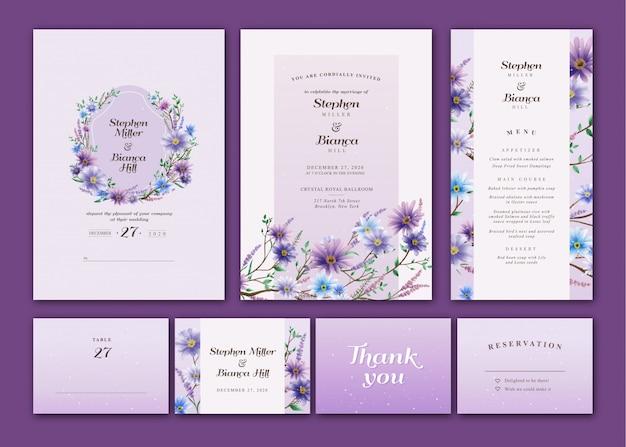 Violet en blauw bloemen aquarel bruiloft uitnodigingspakket