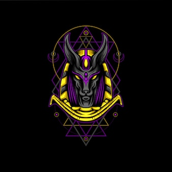 Violet goud anubis geometrie stijl