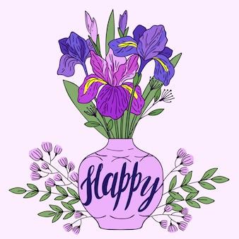 Violet iris in vaas