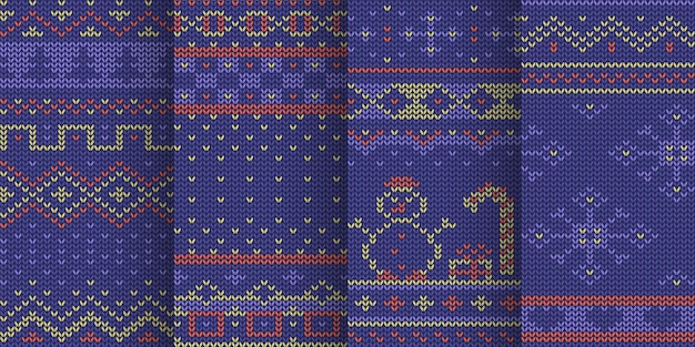 Violet kleur wintervakantie thema naadloos gebreide patroon set