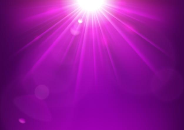 Violet licht schijnt met lens flare