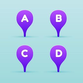 Violet pin kaartpictogram met letter