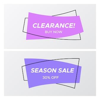 Violette kleuren platte gebogen rechthoek verkoop sticker