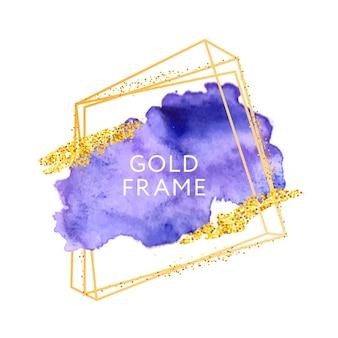 Violette penseelstreken en gouden frame.